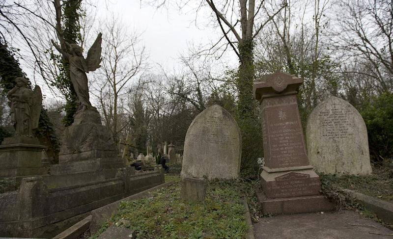 The grave of Dr Isachar Zacharie, front right, which stands lopsided amongst other decaying tombs in Highgate Cemetery in north London Thursday, Feb. 28, 2013. Zacharie,, best known as Abraham Lincoln's foot doctor, treating him and many members of the United States army during the US Civil War, died in London in 1900 and is buried in the same cemetery that also contains the remains of the philosopher Karl Marx . (AP Photo/Alastair Grant)