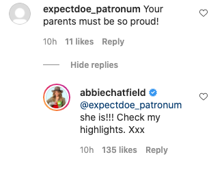 Abbie says that her mum was 'so proud' of her efforts. Photo: Instagram/abbiechatfield.