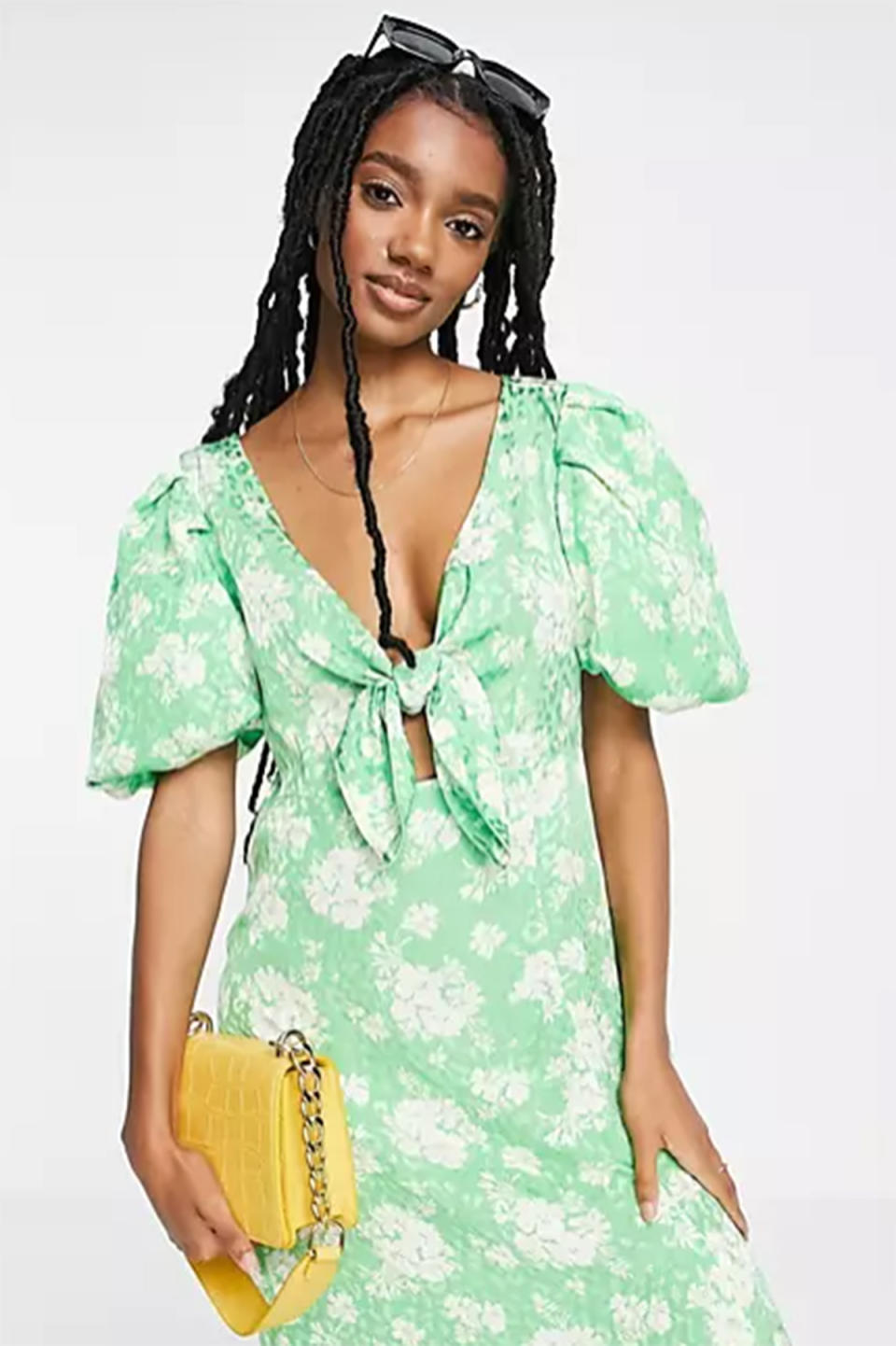 River Island floral tie front midi dress in green, $72 from ASOS
