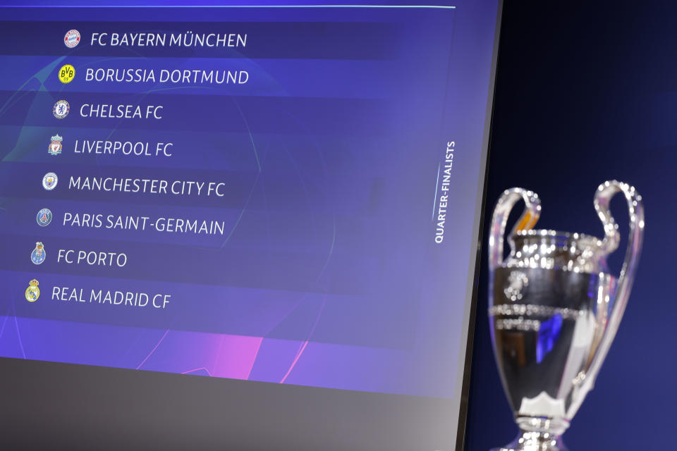 Uefa sorteou as quartas de final da Champions League 2020/2021 em Nyon, na Suúça. Foto: Valentin Flauraud - UEFA/Getty Images