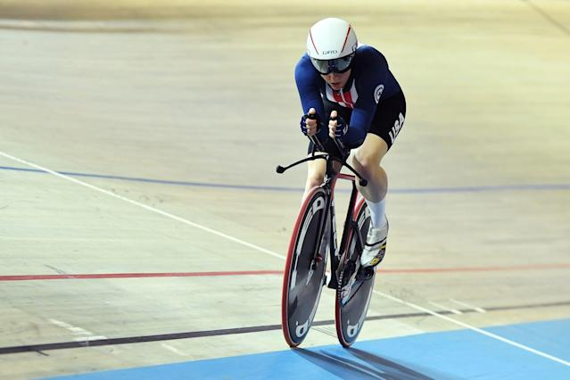 "Olympic track cyclist <a class=""link rapid-noclick-resp"" href=""/olympics/rio-2016/a/1114749/"" data-ylk=""slk:Kelly Catlin"">Kelly Catlin</a> died on Friday in her home in California. She was 23. (Emmanuel Dunand /AFP/Getty Images)"