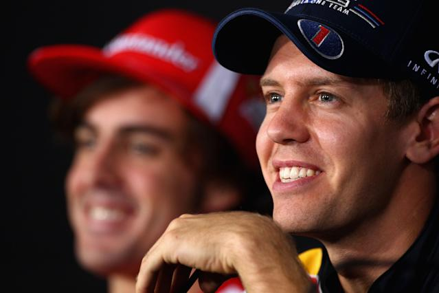 YEONGAM-GUN, SOUTH KOREA - OCTOBER 13: Sebastian Vettel of Germany and Red Bull Racing attends the drivers press conference during previews to the Korean Formula One Grand Prix at the Korea International Circuit on October 13, 2011 in Yeongam-gun, South Korea. (Photo by Clive Mason/Getty Images)