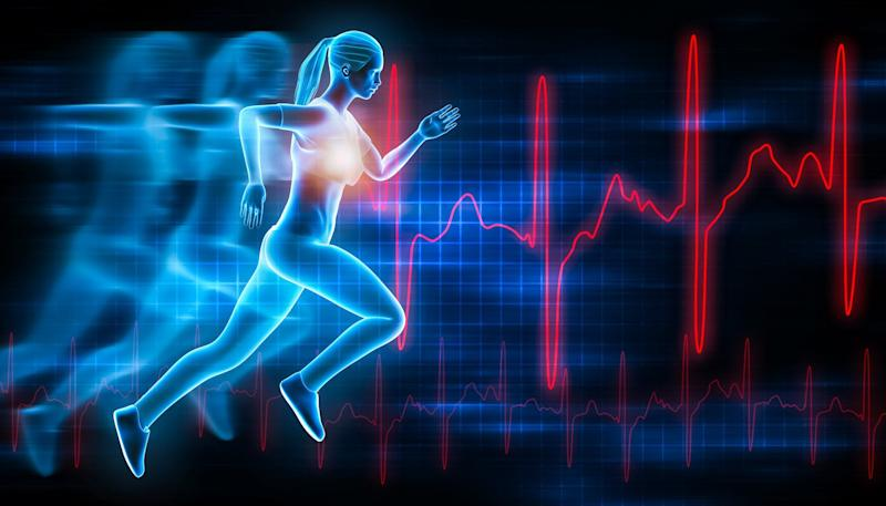 A woman running with futuristic hologram effect.