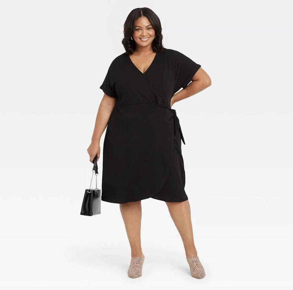 <p>This <span>Ava &amp; Viv Short Sleeve Wrap Dress</span> ($28) will make you feel confident and sexy.</p>