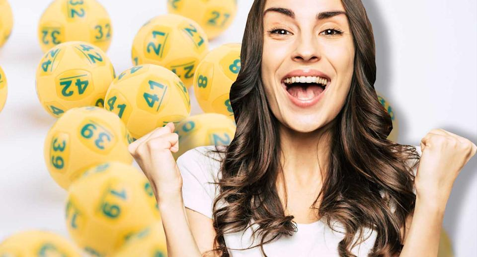 A woman is seen celebrating with lottery balls.