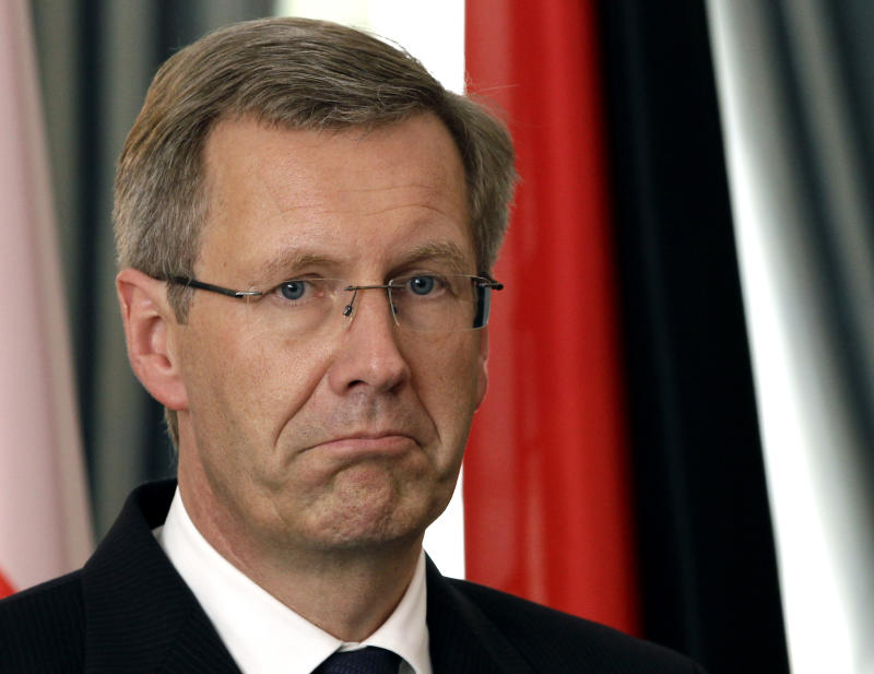 "FILE - In this Sept. 3, 2010 file photo German President Christian Wulff reacts during a joint news conference with the President of Poland, Bronislaw Komorowski, at the Bellevue palace in Berlin, Germany. Germany's biggest-selling newspaper is challenging an assertion by the country's president that he didn't try to prevent it publishing a report on a controversial private loan. President Christian Wulff has faced intense pressure since it emerged that he left an angry message on the voicemail of Bild newspaper's editor-in-chief Kai Diekmann Dec. 12 - the day before the story appeared.  Wulff insisted in a television interview Wednesday Jan. 5, 2012  he hadn't tried to block the report and had merely asked for it to be delayed by a day so he could respond. But Diekmann expressed ""astonishment"" about that in a letter to Wulff on Thursday, seen by the AP. He says Bild wants to publish the text of the message but would like Wulff's approval ""in the spirit of transparency you have spoken of."" (AP Photo/Michael Sohn, File)"
