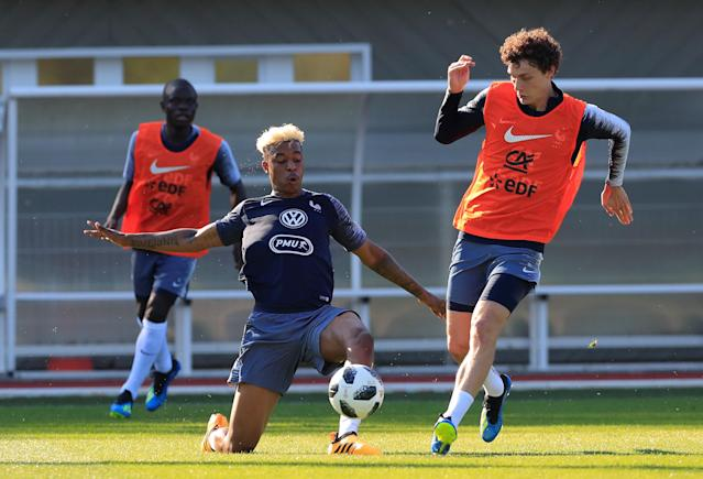 Soccer Football - FIFA World Cup - France Training - Domaine de Montjoye, Clairefontaine, France - May 24, 2018 France's Presnel Kimpembe and Benjamin Pavard during training REUTERS/Gonzalo Fuentes