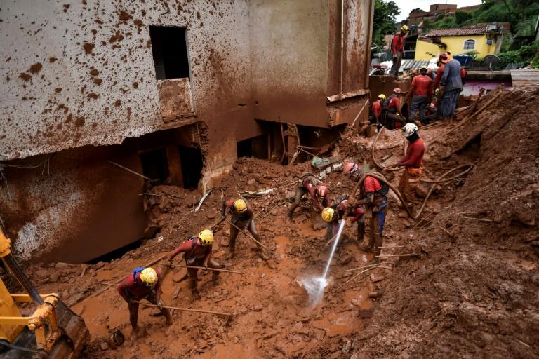 Rescue workers were searching for survivors on January 26, 2020 after a landslide in Belo Horizonte, capital of storm-hit Minas Gerais state in southeastern Brazil