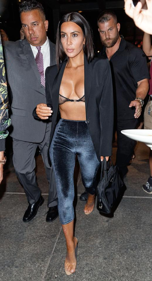 <p>In Lisa Marie Fernandez velvet pants, clear sandals, a lace bra and open navy blazer while leaving Estiatorio Milos in NYC.  </p>
