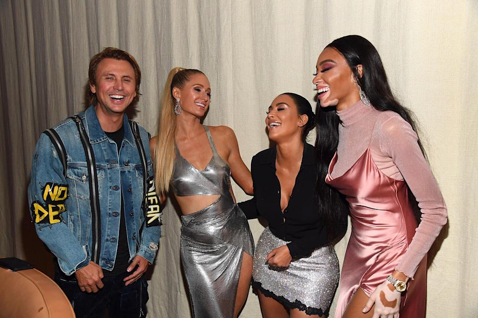 NEW YORK, NEW YORK - Jonathan Cheban, Paris Hilton, Winnie Harlow, Kim Kardashian West and Winnie Harlow attend KKW Beauty KKWxWinnie dinner at L'Avenue in Saks Fifth Avenue on September 12, 2019 in New York City. (Photo by Kevin Mazur/Getty Images for KKW Beauty)