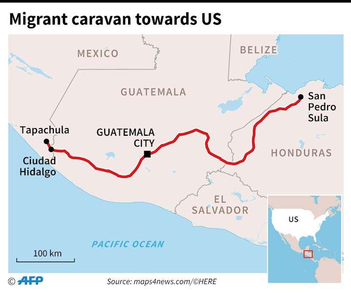 The route taken by thousands of Central America migrants towards the United States (AFP Photo/)