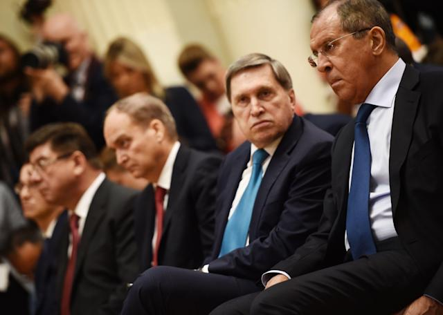 <p>Russian Foreign Minister Sergei Lavrov attends a joint press conference of the US and Russian Presidents after a meeting at the Presidential Palace in Helsinki, on July 16, 2018. (Photo: Brendan Smialowski/AFP/Getty Images) </p>