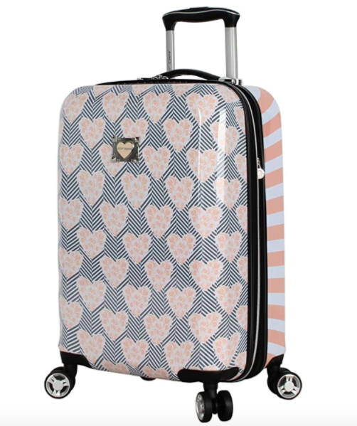 Betsey Johnson 20 Inch Carry On - Expandable (ABS + PC) Hardside Luggage - Lightweight Durable Suitcase With 8-Rolling Spinner Wheels