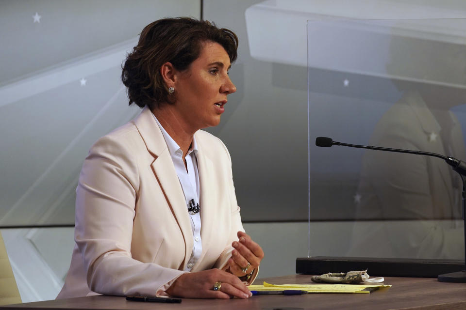Democratic challenger Amy McGrath speaks during a debate with Senate Majority Leader Mitch McConnell, R-Ky., in Lexington, Ky., Monday, Oct. 12, 2020. (Michael Clubb/The Kentucky Kernel via AP, Pool)