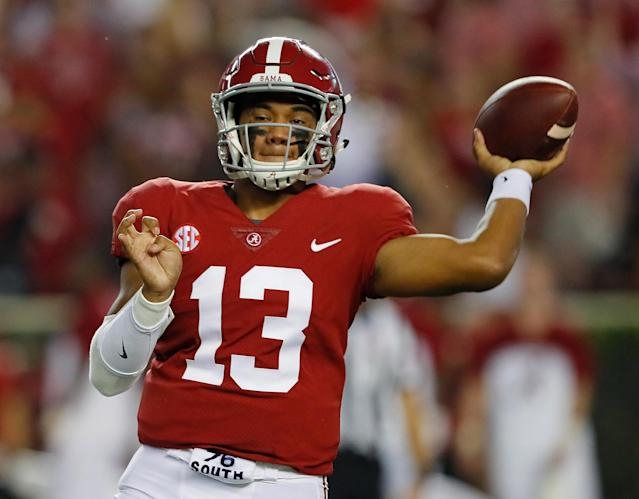 "<a class=""link rapid-noclick-resp"" href=""/ncaaf/players/274844/"" data-ylk=""slk:Tua Tagovailoa"">Tua Tagovailoa</a> is competing with <a class=""link rapid-noclick-resp"" href=""/ncaaf/players/264323/"" data-ylk=""slk:Jalen Hurts"">Jalen Hurts</a> to be Alabama's 2018 starting QB. (Photo by Kevin C. Cox/Getty Images)"