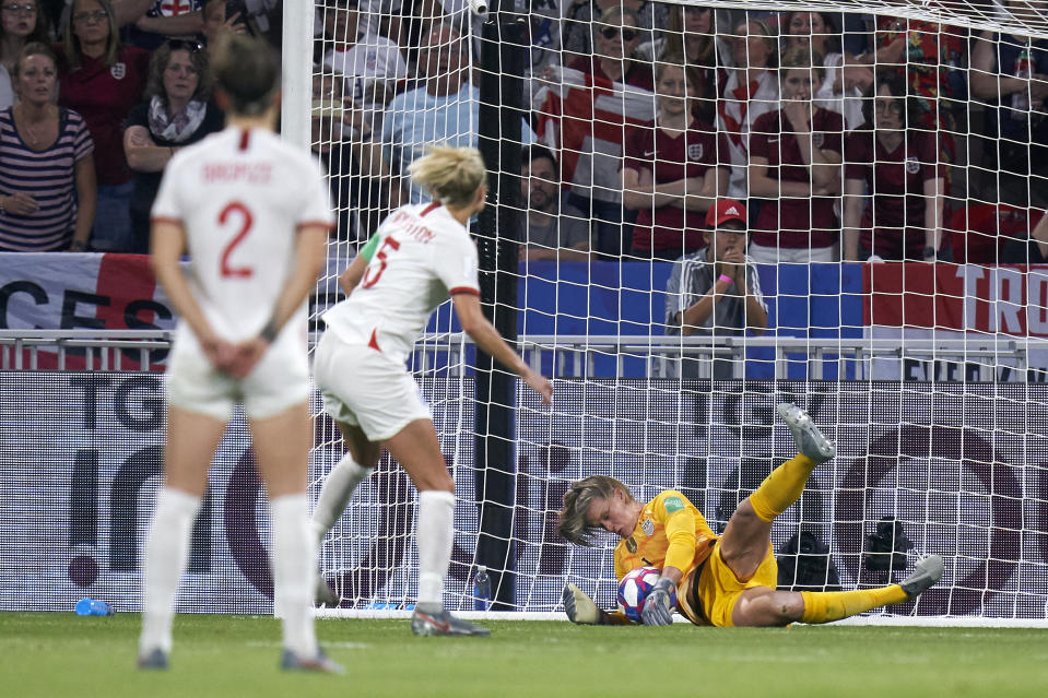 Alyssa Naeher of USA stops the penalty kick during the 2019 FIFA Women's World Cup France Semi Final match between England and USA at Stade de Lyon on July 02, 2019 in Lyon, France. (Photo by Quality Sport Images/Getty Images)