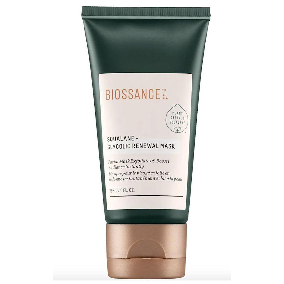 """<p><strong>Biossance</strong></p><p>sephora.com</p><p><strong>$48.00</strong></p><p><a href=""""https://go.redirectingat.com?id=74968X1596630&url=https%3A%2F%2Fwww.sephora.com%2Fproduct%2Fsqualane-glycolic-renewal-facial-P433886&sref=https%3A%2F%2Fwww.bestproducts.com%2Fbeauty%2Fg22530244%2Fbenefits-of-glycolic-acid-skincare-products%2F"""" rel=""""nofollow noopener"""" target=""""_blank"""" data-ylk=""""slk:Shop Now"""" class=""""link rapid-noclick-resp"""">Shop Now</a></p><p>Biossance's Squalane + Glycolic Renewal Mask works as a peel, exfoliator, and overnight mask to improve your skin texture as you sleep.</p><p>While glycolic acid does its exfoliating work, moisturizing <a href=""""https://www.healthline.com/health/squalane"""" rel=""""nofollow noopener"""" target=""""_blank"""" data-ylk=""""slk:squalane"""" class=""""link rapid-noclick-resp"""">squalane</a> keeps skin calm and hydrated. It's a clean-beauty favorite that'll help brighten your complexion.</p>"""