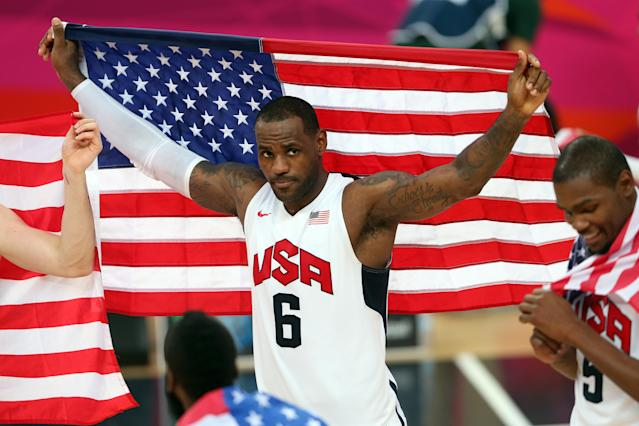"<a class=""link rapid-noclick-resp"" href=""/nba/players/3704/"" data-ylk=""slk:LeBron James"">LeBron James</a> has thrice represented the United States of America at the Olympics. (Getty Images)"