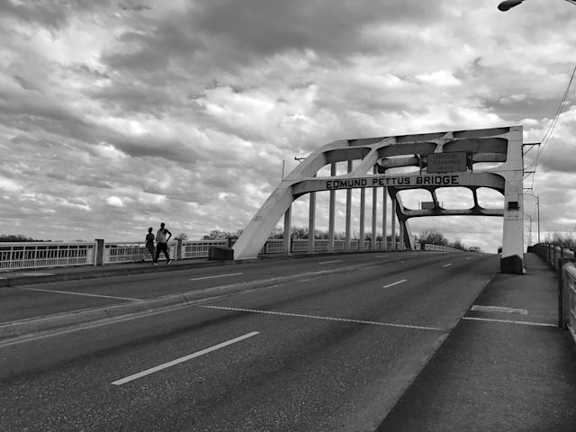 <p>The Edmund Pettus Bridge in downtown Selma, Ala., where voting rights marchers were attacked by law endorsement on Bloody Sunday in 1965. (Photo: Holly Bailey/Yahoo News) </p>