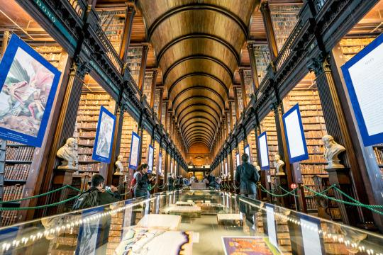 <p>The Long Room in library here is famous, and the Book of Kells is part of the collection — lavishly decorated and containing the first four gospels in Latin, it's one of the oldest books in the world, believed to have been created circa 800 AD. <i>(Photo: Insight Vacations)</i></p>