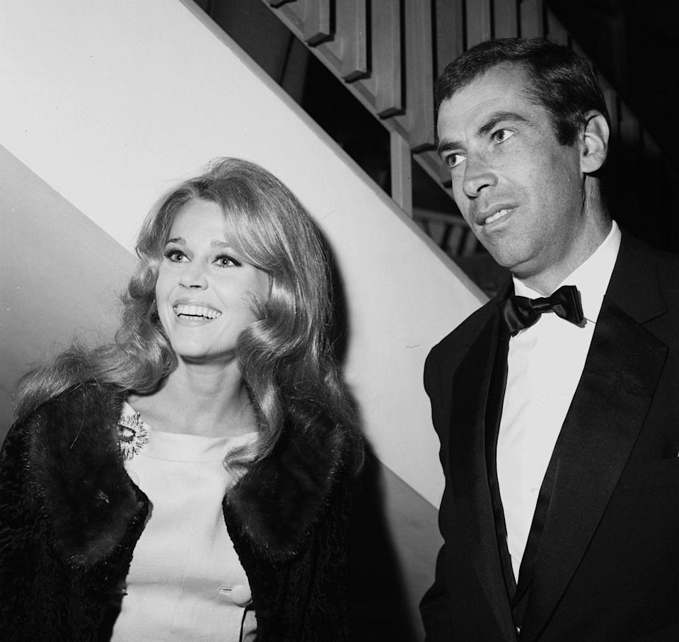 """<p>Actress and activist <a href=""""https://www.womenshealthmag.com/fitness/a32111020/jane-fonda-workout/"""" rel=""""nofollow noopener"""" target=""""_blank"""" data-ylk=""""slk:Jane Fonda"""" class=""""link rapid-noclick-resp"""">Jane Fonda</a> has been married <a href=""""https://www.biography.com/actor/jane-fonda"""" rel=""""nofollow noopener"""" target=""""_blank"""" data-ylk=""""slk:three times"""" class=""""link rapid-noclick-resp"""">three times</a>. Her first marriage was to French screenwriter Roger Vadim from 1965 to 1973, followed by social activist Tom Hayden from 1973 to 1990, then CNN founder Ted Turner from 1991 to 2001.<br></p>"""