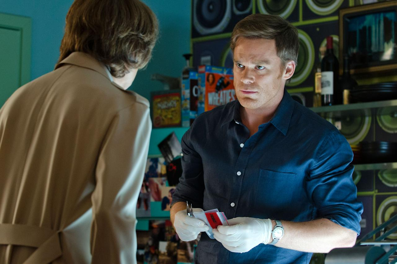 "Michael C. Hall as Dexter Morgan and Charlotte Rampling as Dr. Vogel in the ""Dexter"" Season 8 episode, ""Make Your Own Kind of Music."""