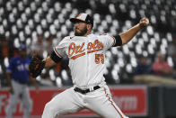 Baltimore Orioles starting pitcher Zac Lowther (59) delivers during the first inning of a baseball game against the Texas Rangers, Thursday, Sept. 23, 2021, in Baltimore. (AP Photo/Terrance Williams)
