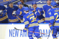 Buffalo Sabres forward Arttu Ruotsalainen (25) celebrates his goal during the first period of an NHL hockey game against the Pittsburgh Penguins, Sunday, April 18, 2021, in Buffalo, N.Y. (AP Photo/Jeffrey T. Barnes)