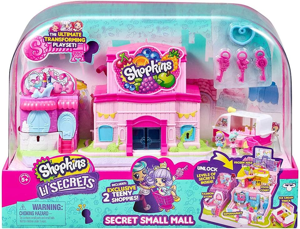 <p>If you have a little shopper on your hands, we know they'll love the <span>Shopkins Lil' Secrets Secret Small Mall Multilevel Playset </span> ($25, originally $30). Complete with six buildable figures and a two-level supermarket, it'll let your children play with their Shopkins in an imaginative way. The cute set has over 1,500 positive reviews, so kids love it!</p>