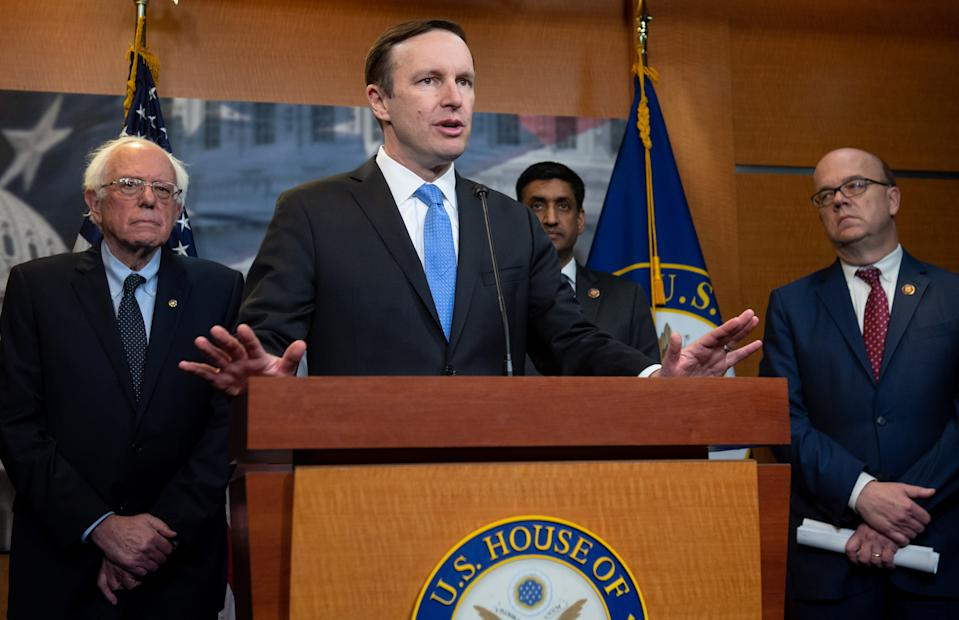 US Senator Chris Murphy (2nd L), Democrat from Connecticut, speaks alongside US Senator Bernie Sanders (L), an Independent from Vermont, US Representative Ro Khanna (2nd R), Democrat of California, and US Representative Jim McGovern (R), Democrat of Massachusetts, during a press conference following a vote in the US House on ending US military involvement in the war in Yemen, on Capitol Hill in Washington, DC, April 4, 2019. (Photo by SAUL LOEB / AFP)        (Photo credit should read SAUL LOEB/AFP via Getty Images)