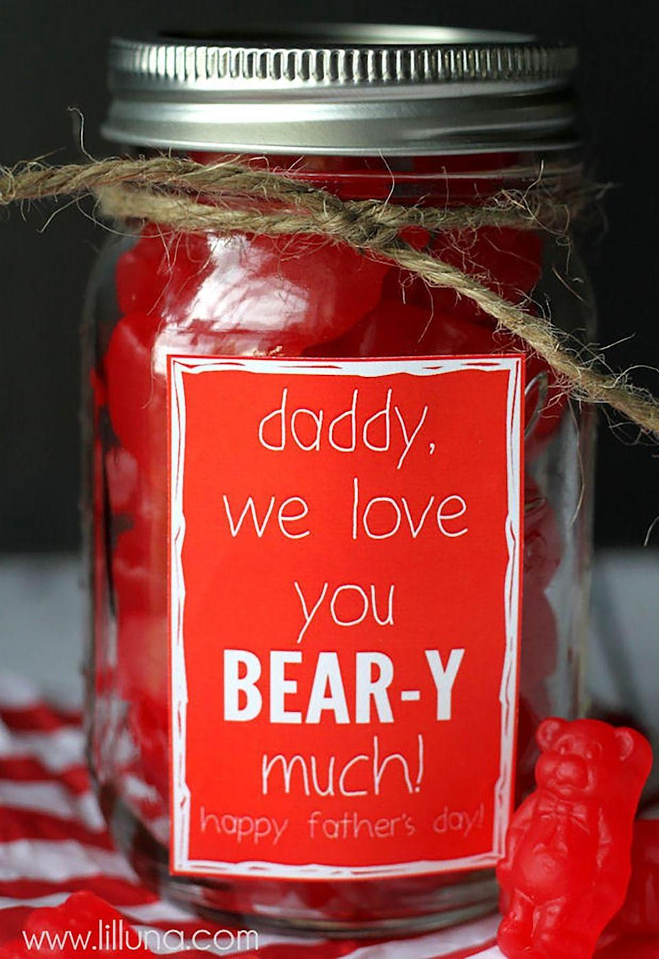 """<p>Show Dad you love him """"bear-y"""" much with this simple yet creative candy jar. </p><p><strong><em>Get the tutorial at <a href=""""https://lilluna.com/fathers-day-jar-gift/"""" rel=""""nofollow noopener"""" target=""""_blank"""" data-ylk=""""slk:'Lil Luna"""" class=""""link rapid-noclick-resp"""">'Lil Luna</a>. </em></strong></p><p><strong>What You'll Need: </strong><a href=""""https://www.amazon.com/Ball-Pint-Jar-Regular-Mouth/dp/B01NBMPHYV/"""" rel=""""nofollow noopener"""" target=""""_blank"""" data-ylk=""""slk:Mason jars"""" class=""""link rapid-noclick-resp"""">Mason jars</a> ($9 for two, Amazon); <span class=""""redactor-unlink""""><a href=""""https://www.amazon.com/Tenn-Well-Industrial-Decoration-Applications/dp/B01LRQB69O/"""" rel=""""nofollow noopener"""" target=""""_blank"""" data-ylk=""""slk:jute twine"""" class=""""link rapid-noclick-resp"""">jute twine</a></span> ($7, Amazon) </p>"""