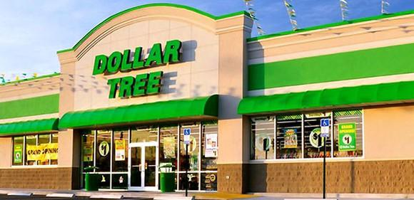 Dollar Tree storefront with green awnings and lettering