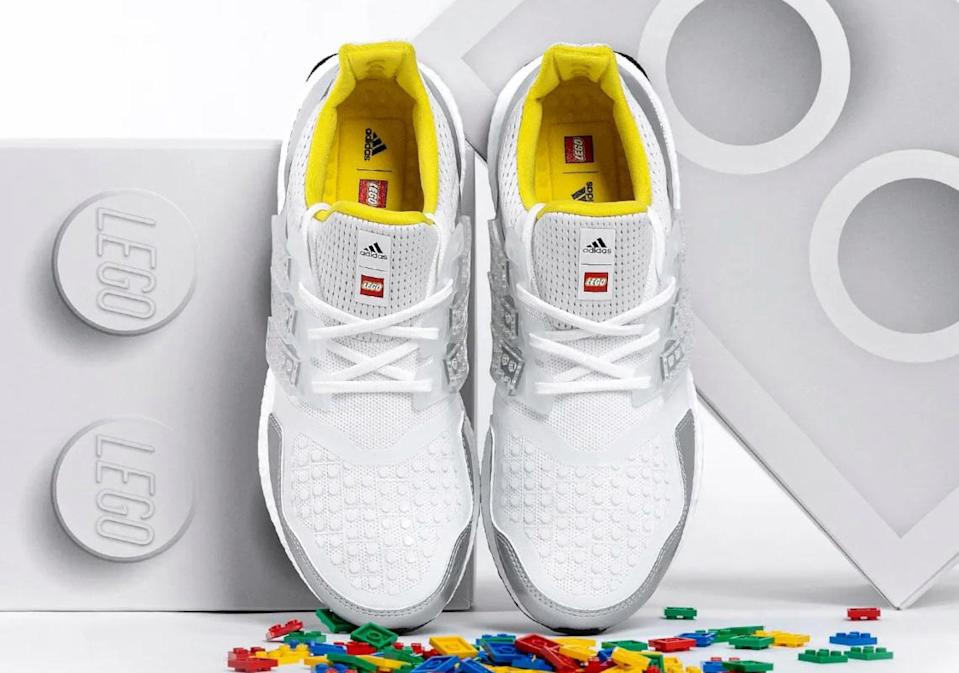 How the new Adidas Ultraboost sneakers appear prior to the addition of LEGO bricks.