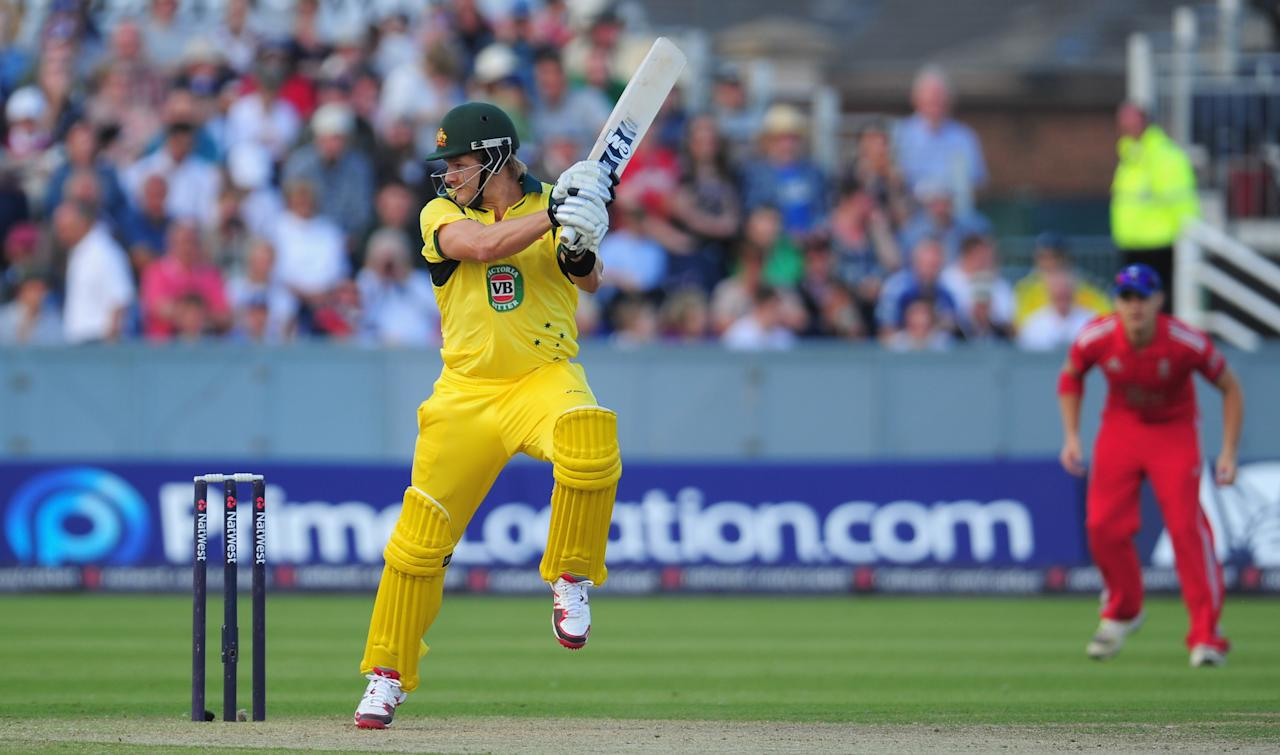 CHESTER-LE-STREET, ENGLAND - AUGUST 31:  Australia batsman Shane Watson in action during the 2nd NatWest series T20 match between England and Australia at Emirates Durham ICG on August 31, 2013 in Chester-le-Street, England.  (Photo by Stu Forster/Getty Images)