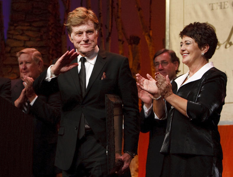 """For all his contributions to the state of Utah, Robert Redford was recognized and honored by Governor Gary Herbert at a gala in his honor, """"The Governor's Salute to Robert Redford: A Utah Tribute to an American Icon"""" at the Grand America Hotel, Saturday, Nov. 9, 2013. (AP Photo/The Salt Lake Tribune, Leah Hogsten)"""