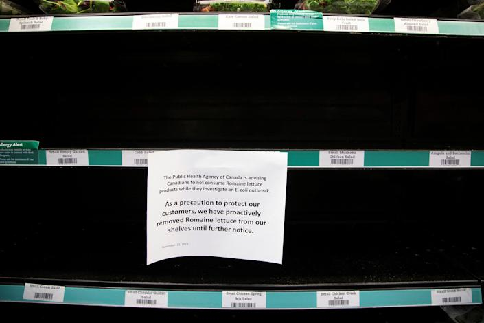 Romaine lettuce was taken off the shelf at stores in Canada last November amid a similar E. coli outbreak that also impacted the U.S. (Photo: Carlos Osorio / Reuters)