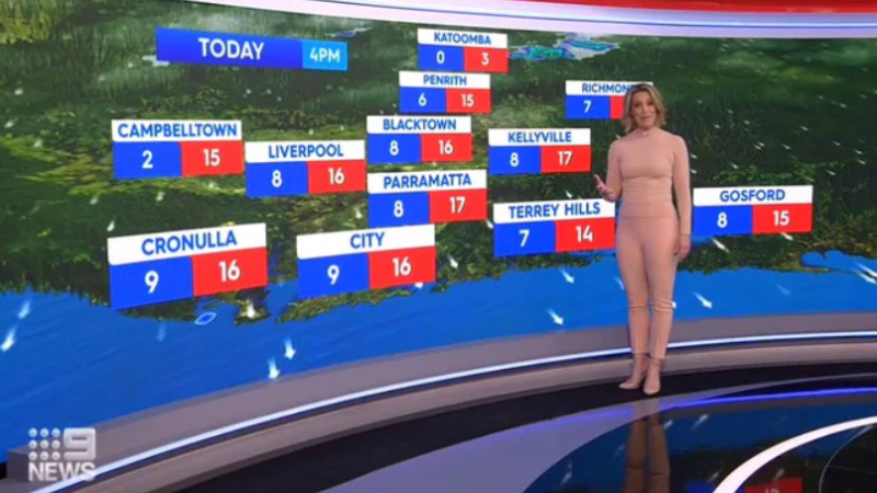Channel Nine star Belinda Russell wearing her 'nude' outfit to present Saturday's weather. Photo: Channel Nine.