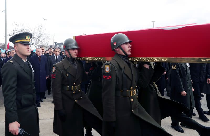 Turkey's President Erdogan attends funeral ceremony of Turkish soldier Emre Baysal in Istanbul