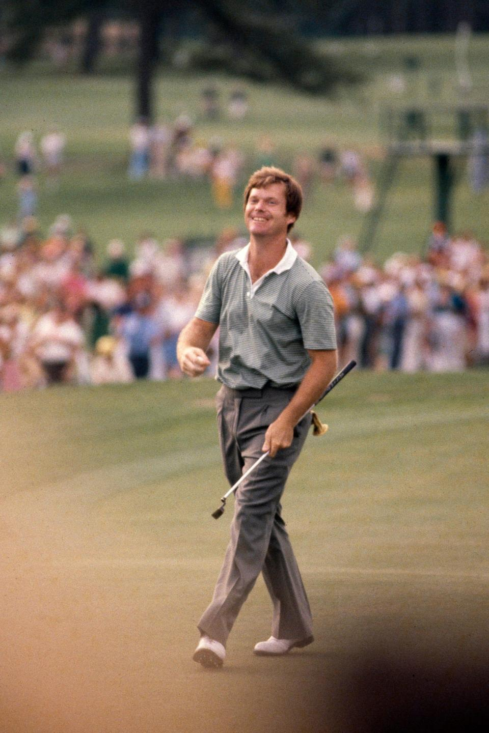 Tom Watson reacts to his putt during the final round of the 1981 Masters.