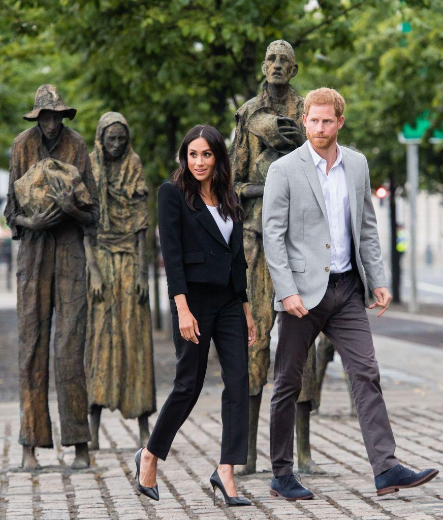 <p>Here she is opting for pants again during an official royal visit to Ireland with Prince Harry in July 2018. </p>