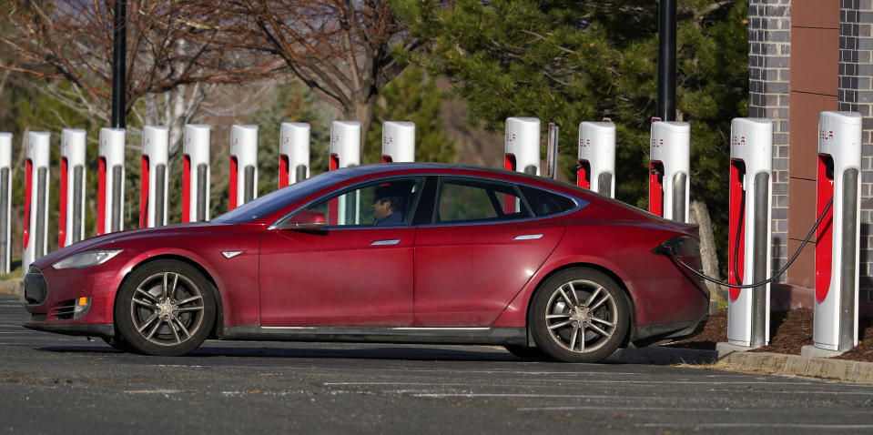 on Wednesday, Nov. 18, 2020, in the gaming town of Black Hawk, Colo. (AP Photo/David Zalubowski) Motorists charge their Tesla vehicles at a Tesla supercharging station located in the parking lot of Colorado Mills outlet mall Wednesday, Nov. 17, 2020, in Golden, Colo. (AP Photo/David Zalubowski)