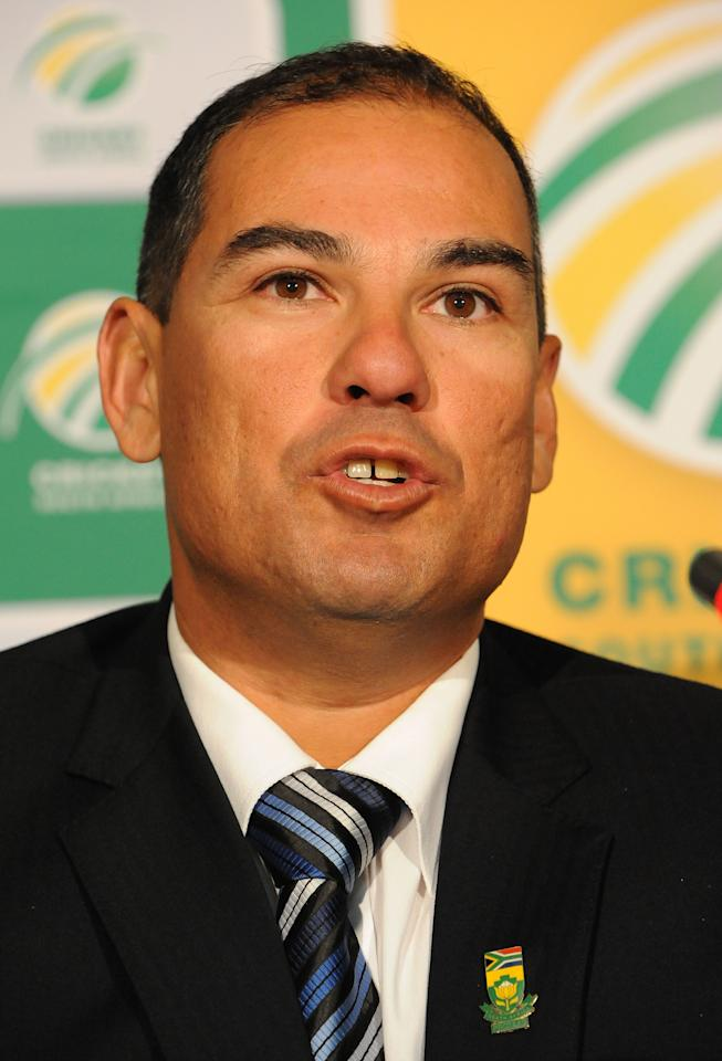 JOHANNESBURG, SOUTH AFRICA - MAY 11: Russell Domingo speaks to the media during the CSA media briefing to announce the proteas coach elect Russell Domingo at OR Thambo International Airport Garden Court Hotel on May 11, 2013 in Johannesburg, South Africa. (Photo by Duif du Toit/Gallo Images/Getty Images)