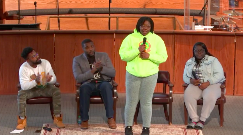 Students from Miami's LibertyCity speak about theproblem of gun violence in their communities, at an eventin Atlanta on March 22, 2018.