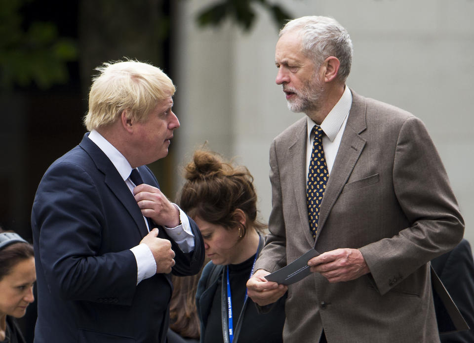 07/07/2015. London, UK. London Mayor BORIS JOHNSON and Labour MP JEREMY CORBYN. A church service held at St Paul's Cathedral In London on the 10th anniversary of the 7/7 bombings in London which killed 52 civilians and injured over 700 more. Photo credit: Ben Cawthra *** Please Use Credit from Credit Field ***