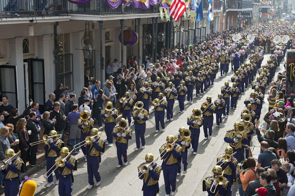 <p>Just like any New Orleans parade, marching bands come out in droves for Mardi Gras processions. These range from high school, college, military bands, and more and make it impossible for onlookers to not dance along.</p>