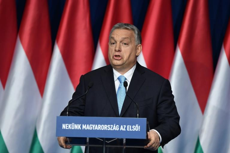 Hungarian Prime Minister Viktor Orban delivers his state of the nation speech in front of his Fidesz party members and sympathizers