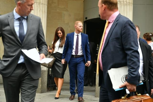 Stokes, centre, was found not guilty of affray by a jury at Bristol Crown Court in 2018 (Ben Birchall/PA)