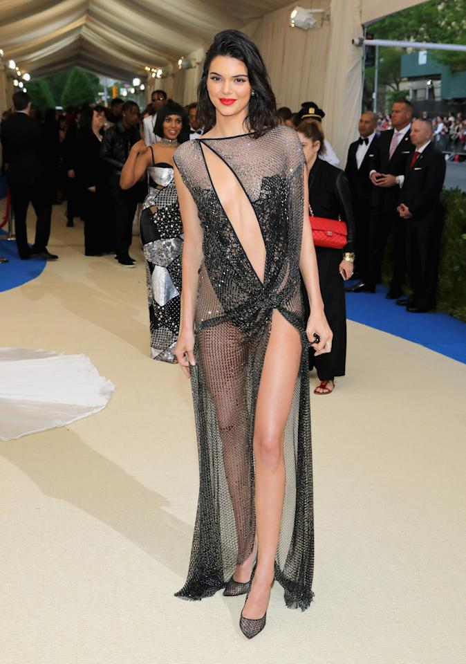 <p>Kendall Jenner left little to the imagination in this La Perla slip in 2017. Photo: Getty Images </p>