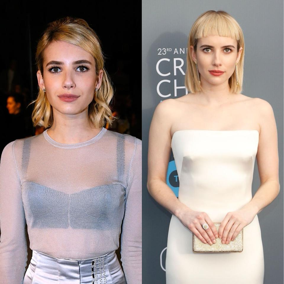 <p><strong>When: </strong>January 11 2018<br />Emma Roberts debuted her new micro fringe at the 2018 Critics' Choice Awards and it's a far cry from her go-to side parting. <em>[Photo: Getty]</em> </p>