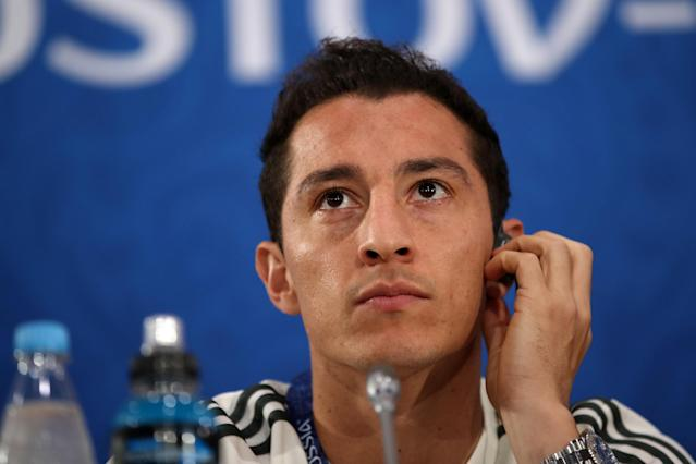 Soccer Football - World Cup - Mexico Press Conference - Rostov Arena, Rostov-on-Don, Russia - June 22, 2018 Mexico's Andres Guardado during the press conference REUTERS/Marko Djurica